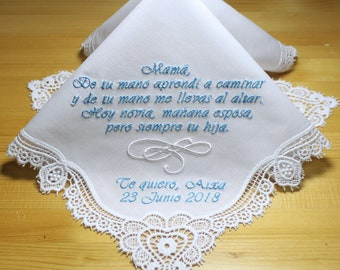 Embroidered Personalized Wedding Handkerchief with Claddagh Cluny Lace  to Mother of Bride in Spanish Monogrammed  Custom(Hankie #18325-12)