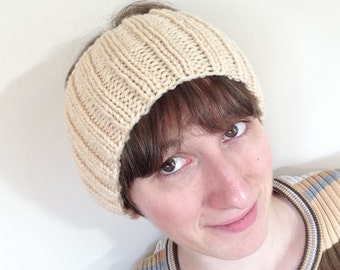 Beige Ribbed Knit Headband Earwarmer -- READY TO SHIP! (Choose your size!)