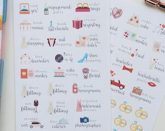 54 Wedding Planning Stickers // Planner Stickers for all planners. Wedding tracker | planner | checklist | wedding countdown |  bride