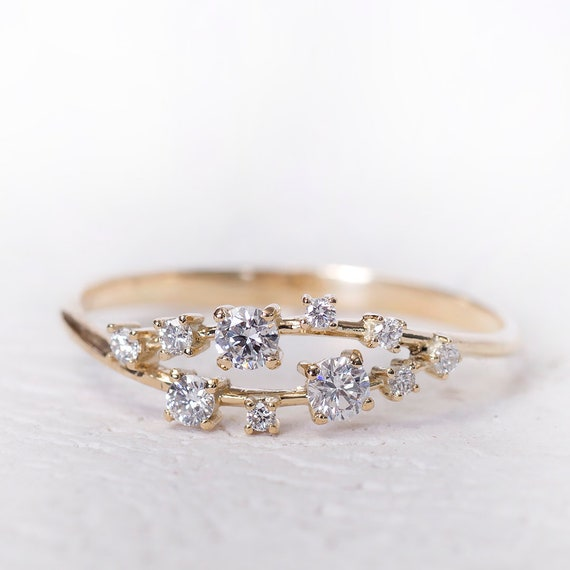 Cluster Engagement Ring Wedding Rings Cluster ring Gold