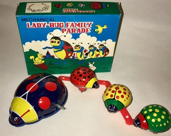 Vintage Tin Litho Wind Up Toy Lady Bug Family Parade With Original Box Working 1980s Made in Korea