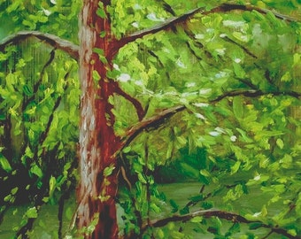 Tree Trunk & Vines, 9 x 12, print of original oil painting on panel