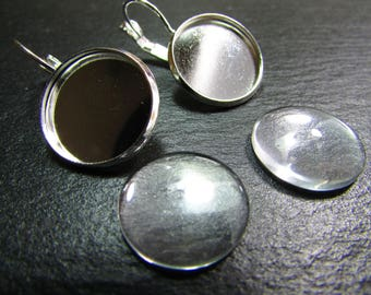 1 pair of stud earrings 925 sterling silver 16 mm with 2 cabochons