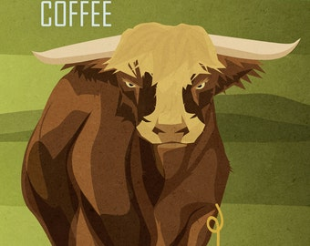 Bull Enjoys Coffee