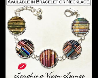 Library Book Jewelry - Book Bracelet - Vintage Book Necklace - Book Lovers Gift - Literary Gift - Photo Charm - Style B