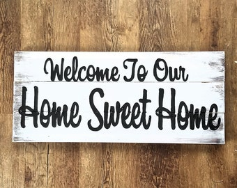 Welcome to our home sweet home sign