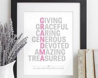 Christmas Gift for Grandparents Gift for Grandma Gift, Family Christmas Gift from Children Kids, Valentine for Grandma