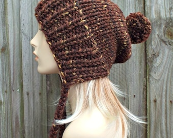 Womens Pom Pom Hat - Sequoia Brown Slouchy Hat Brown Knit Hat Brown Hat Brown Beanie - Charlotte Slouchy Ear Flap Hat - READY TO SHIP