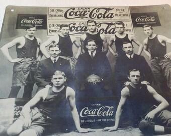 Vintage coke tin sign