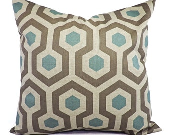 Decorative Pillow Covers - Two Blue and Taupe Throw Pillow Covers - Trellis Pillow - Blue Pillow Sham - Pillows - 12x18 14x14 16x16 18x18