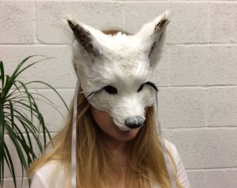 Luxury Lace Embellished Feather Fox Mask , Woodland Animals, Festival Headdress, Carnival Mask, Fox Masquerade Mask, Fox Mask, Animal Mask