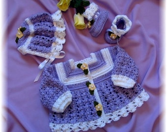 Crochet Pattern for Baby ---Heather Baby Sweater, Bonnet and Booties
