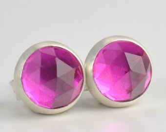 ruby lab corundum rose cut 6mm sterling silver stud earrings pair