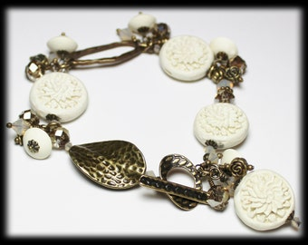 Magnolia... Handmade Beaded Jewelry Bracelet Flowers Floral Carved White Cinnabar Cream Crystal Antique Brass Dangle Lightweight