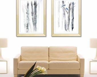 "SET of 2 Prints 16x20"",18X24,24x32 inch, 20x30"" Vertical Print, Black White Landscape Print Watercolor Painting, White Grey Print Set of Two"