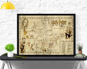 Harry Potter And the order of the Phoenix Video Game Map Artwork Print Poster