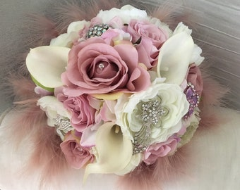 Bridal Bouquet  in Ivory, Champange, Gold, Vintage  Pink  And Blush  Wedding Bouquet Bridesmaid Bouquet with brooch and jewels