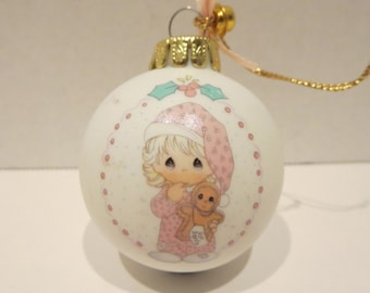 """Precious Moments """"Wishing You The Sweetest Christmas"""" 1993 Porcelain Ball Ornament"""