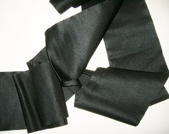 Vintage Thick Wide Black Satin Trim • 4 3/4 inches Wide X 4 yards 28 inches Long