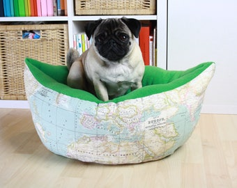 World Map Pet Bed | Dog Bed | Cat Bed | Handmade | Modern Dog Bed | Small Dog Bed | Washable Dog Bed | Gift for Dog Lover| Nais