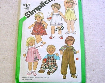 Vintage 80s Sewing Pattern - Toddler Overalls,Sundress,Jumper,Bubble Suit - Simplicity 5333 Size 3 plus Embroidery Transfers