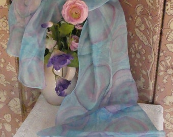 Hand painted, purples, blues, underwater coral, 100% silk scarf.