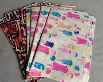 8 sheets of 1970's vintage thin Christmas wrapping paper
