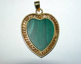 """SALE Malachite Heart Pendant Necklace Hand Carved Figural on 20"""" Gold Filled Chain"""