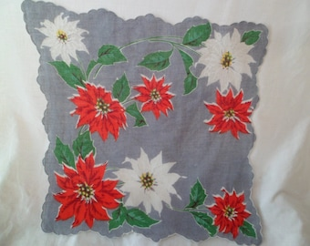"""Vintage Christmas Handkerchief 13 x 13"""" Gray with Red and White Poinsettias"""