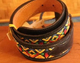 Vintage New Black Leather Belt w/Colorful Aztec Like Design Sz 30#9