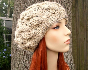 Oatmeal Cable Beret Chunky Knit Hat Womens Hat Cable Hat - Oatmeal Hat Oatmeal Beret Oatmeal Beanie Womens Accessories
