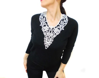 White Lace statement necklace, Victorian Gothic, Wedding Necklace, FREE SHIPPING, Art Deco