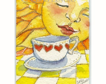 Sun Painting, Watercolor, tiny Sun face, Coffee Cups, ACEO sized,  Giclee Print, Tiny Miniature, celestial decor, childs art,
