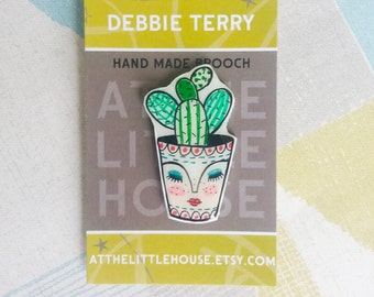 cacti in a pot brooch , hand drawn , shrink plastic , cactus , succulent, wearable art, christmas stocking filler