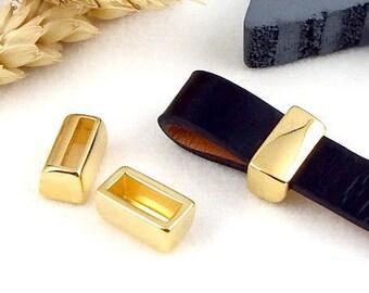 4 tips blockers zamak flashed gold 10mm flat leather