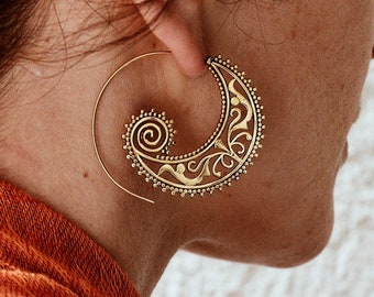 Indian Earrings, Boho Earrings, Gold Flower Earrings, Brass Hoop Earrings, Fake Gauge Earrings, Hippie Earrings, Spiral, Indian Jewelry