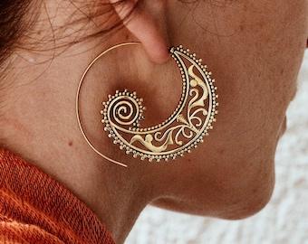 Bohemian, Boho Earrings, Threader Earrings, Brass Hoop Earrings, Fake Gauge Earrings, Hippie Earrings, Spiral Earrings, Indian Jewelry