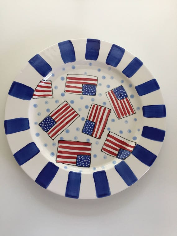 USA Platter, Fourth of July platter,  American Flag platter, USA partyware, flag plate, Independence Day plate, 4th of July party decor
