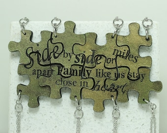 Puzzle Key chains for 8 Side by side quote Your color choice Made To Order