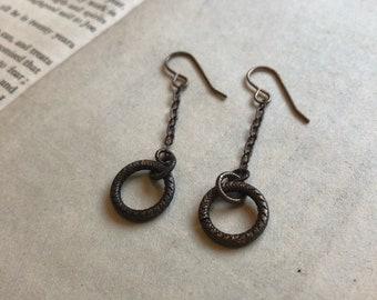 Filigree drop hoop earrings