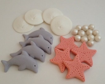 Dolphin or Ocean Themed Cupcake Toppers - Fondant