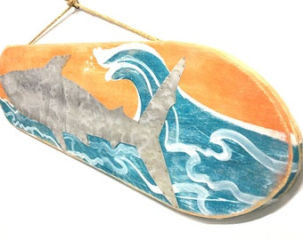 Shark With Ocean Waves Surfboard-Personalize and Adopt This Original Art Item-Painting OOAK Home Decor Beach Art Shark Wall Art Mangoseed