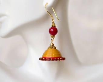 Jhumka - Indian jewelry - Paper Earrings - Quilling earrings - Indian wedding jewelry - Red Yellow Jhumka earrings - Ethnic earrings - Gifts