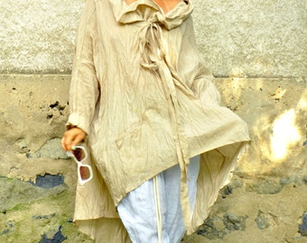 Oversize summer top/Cotton silk tunic/Casual beige tunic/Loose tunic/Maxi oversize tunic/Beige dress/Oversize top/Plus size tunic/P1497