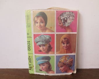 Vintage '60s McCall's Hat Sewing Pattern, 8601, Super Mod! Partially Cut, 1966