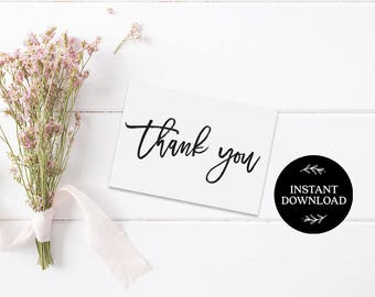 Thank You Cards Printable INSTANT DOWNLOAD PDF Rustic Thank You Card, Thanks Card, Favor Card, Wedding Thank You Card Beth