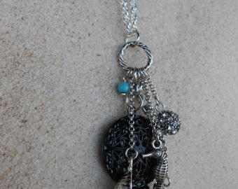 Black Diffuser Necklace with Vintage Nautical Cluster Charm
