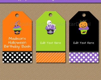 HALLOWEEN Birthday Tags, Kids Halloween Tags, Printable Halloween Favor Tags, Editable Halloween Gift Tags, Halloween Party Favor Tags HC