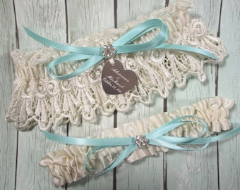 Garters, Aqua / Robin's Egg Blue Personalized Wedding Garter Set in Ivory Venice Lace with Engraving, a Bow and Rhinestones