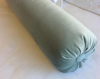 Sea Mist blue VELVET decorative Bolster Pillow 6x22